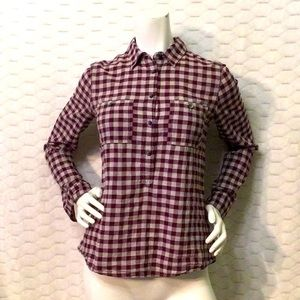 Madewell Burgundy Plaid Popover Top XS